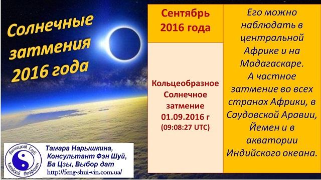 Солнечные  затмения в 2016 году