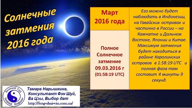 Солнечные  затмения в 2016 году.